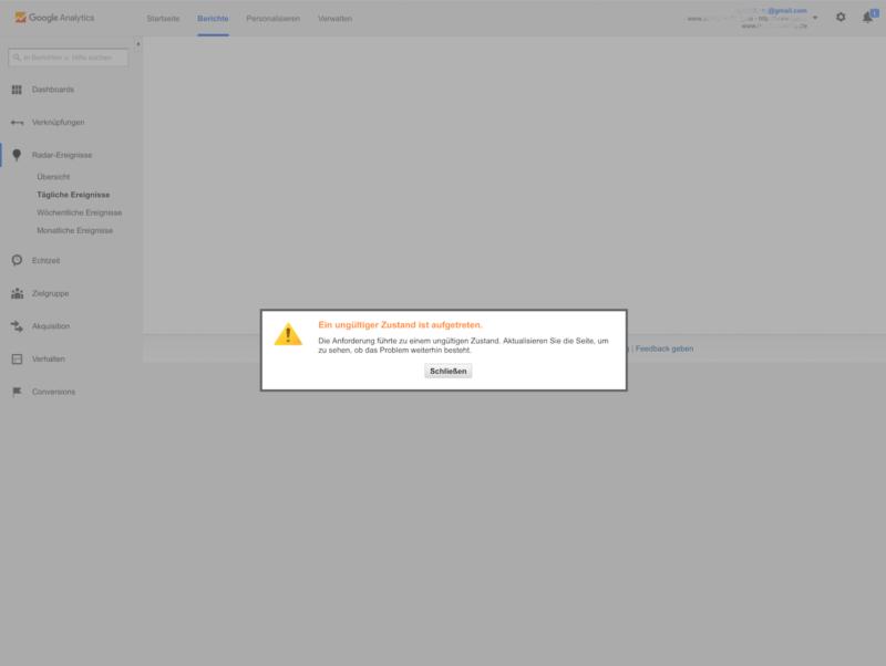 Google Analytics Fehlermeldung